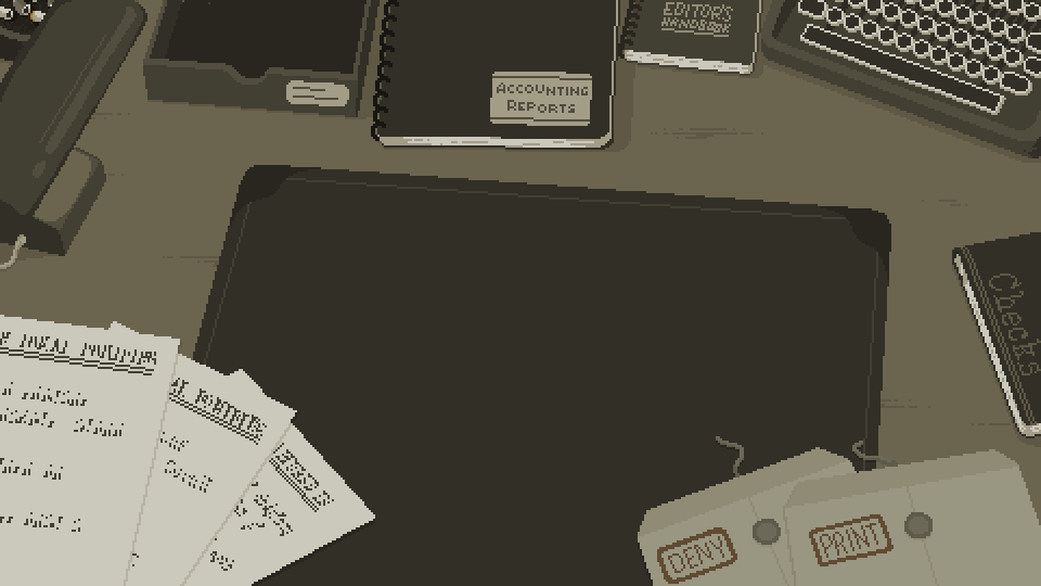 In game screenshot of the desk